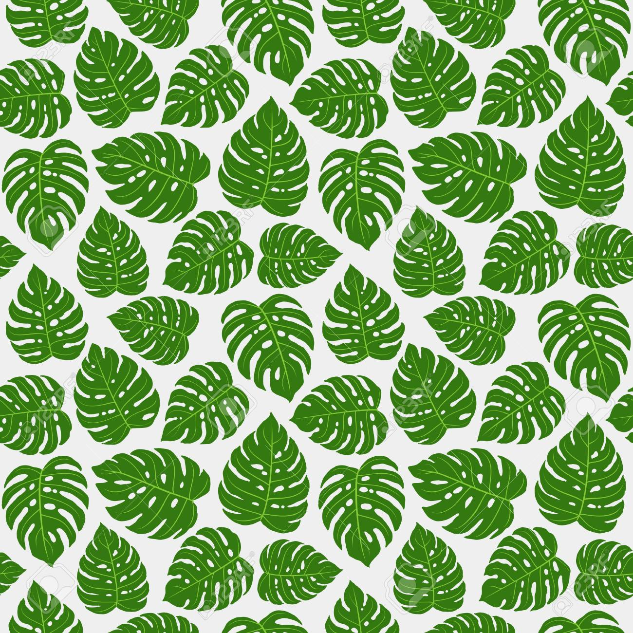 Monstera Leaves Repetitive Pattern Design For Fabric Print