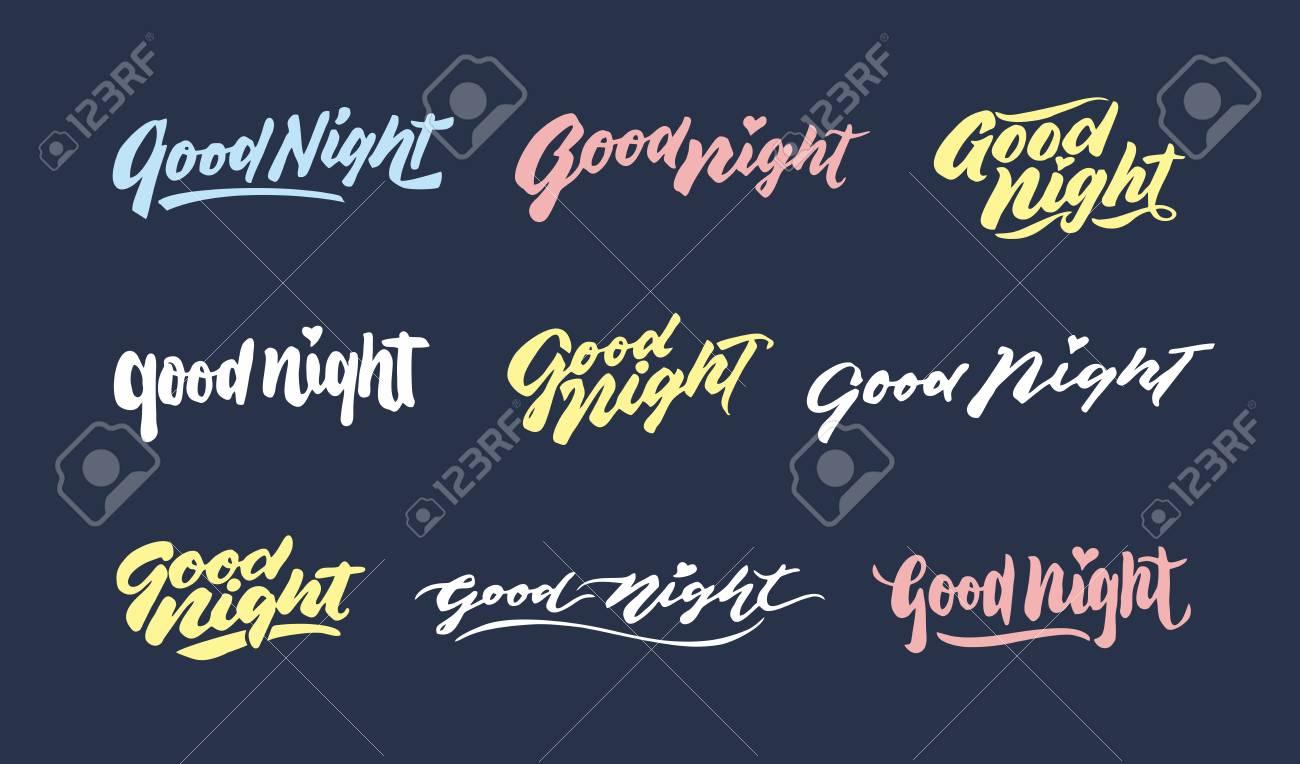 Boa Noite Vintage Mão Rotulação Tipografia Saudação Frases Design Pacote Bom Para Ser Usado Para Cartão E Design De Cartaz