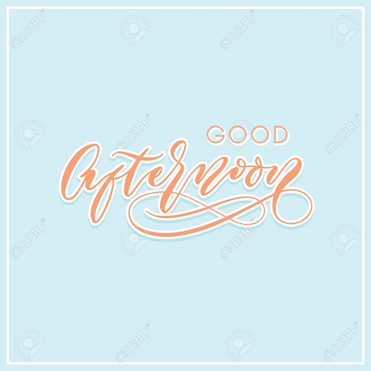 Good Afternoon Modern Calligraphy Typography Greeting Card Royalty