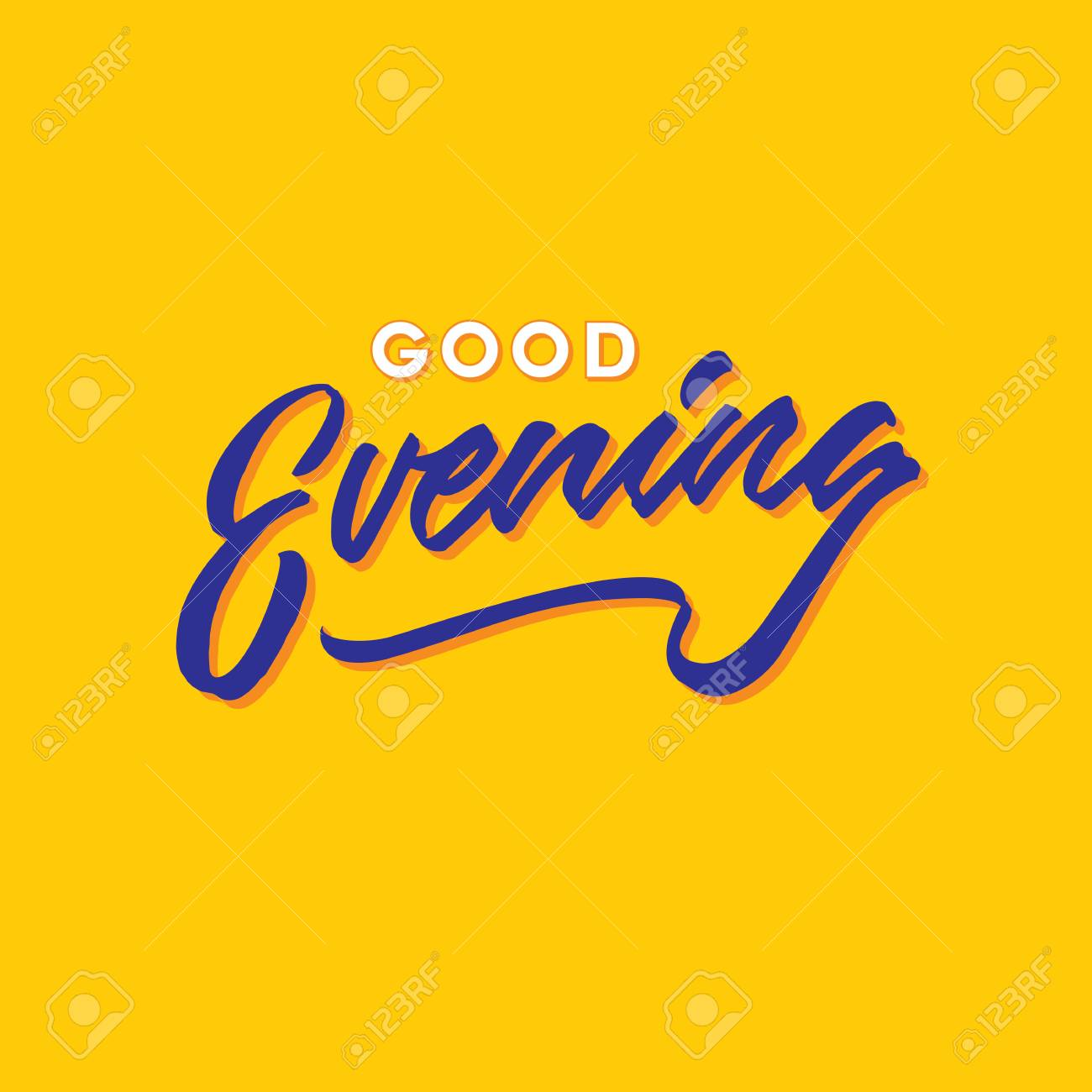 Good Evening Hand Lettering Typography Greeting Card Poster Vector