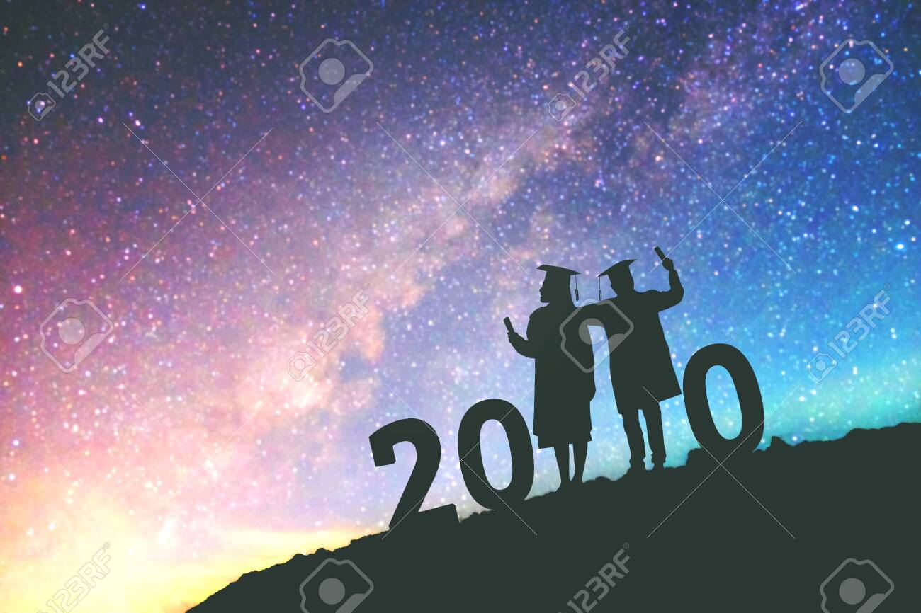 Graduation Background 2020.2020 New Year Silhouette People Graduation In 2020 Years Education