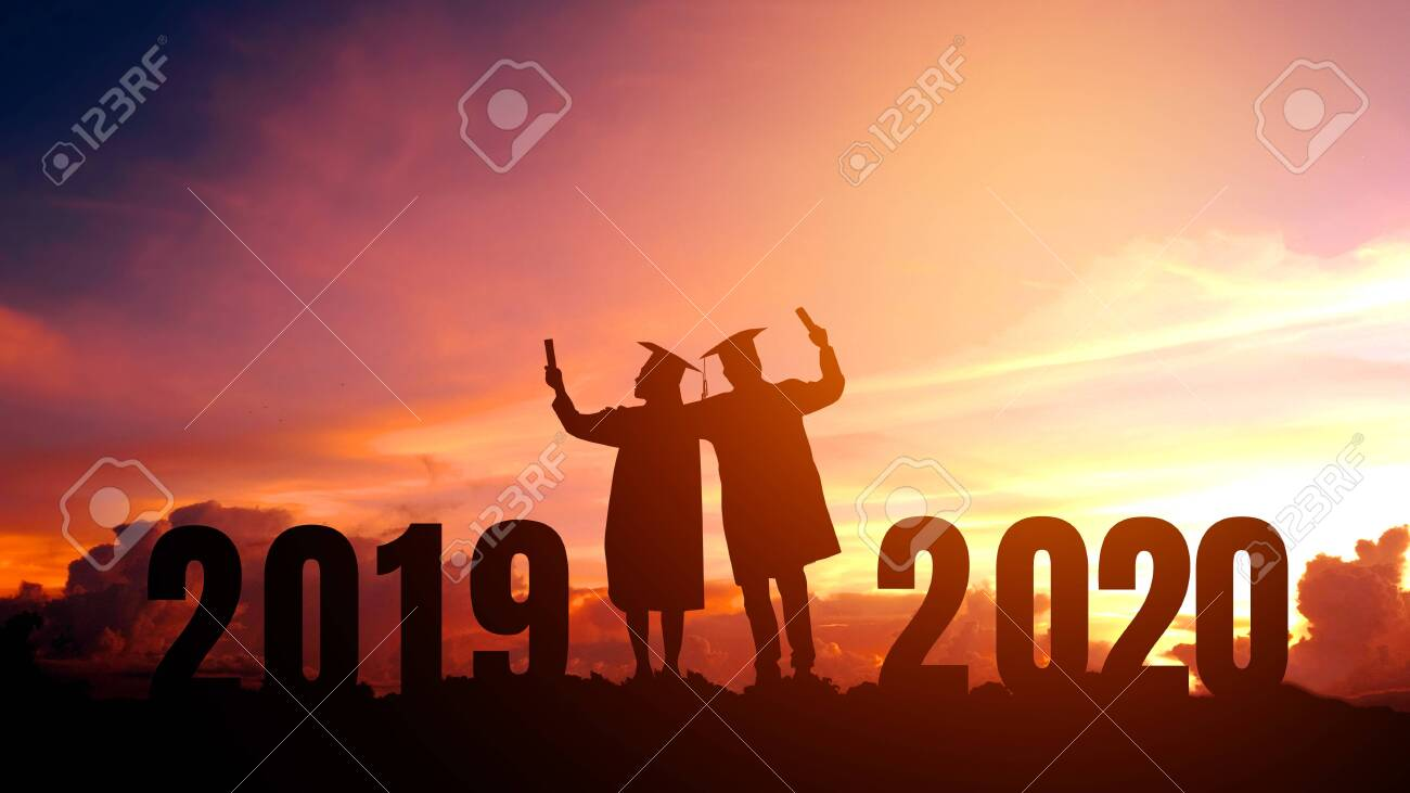 Graduation Music 2020.2020 New Year Silhouette People Graduation In 2020 Years Education