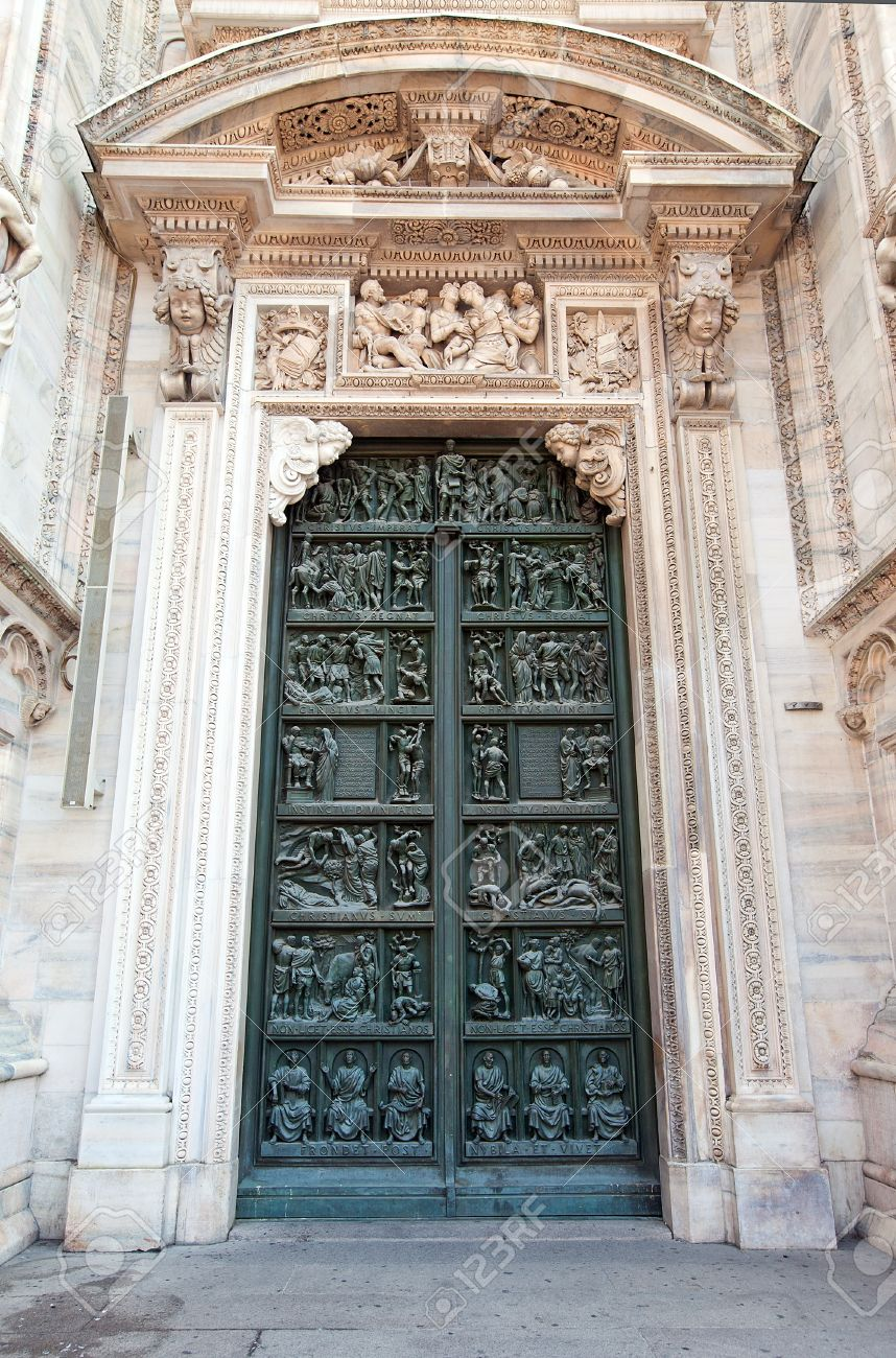 Decorated Doors Of Milan Cathedral Duomo Di Milano, 1386-1965 ...