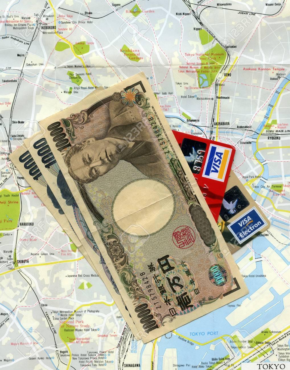 Concept Traveling To Tokyo Japan Japanese Money Yens Visa - Japan visa map