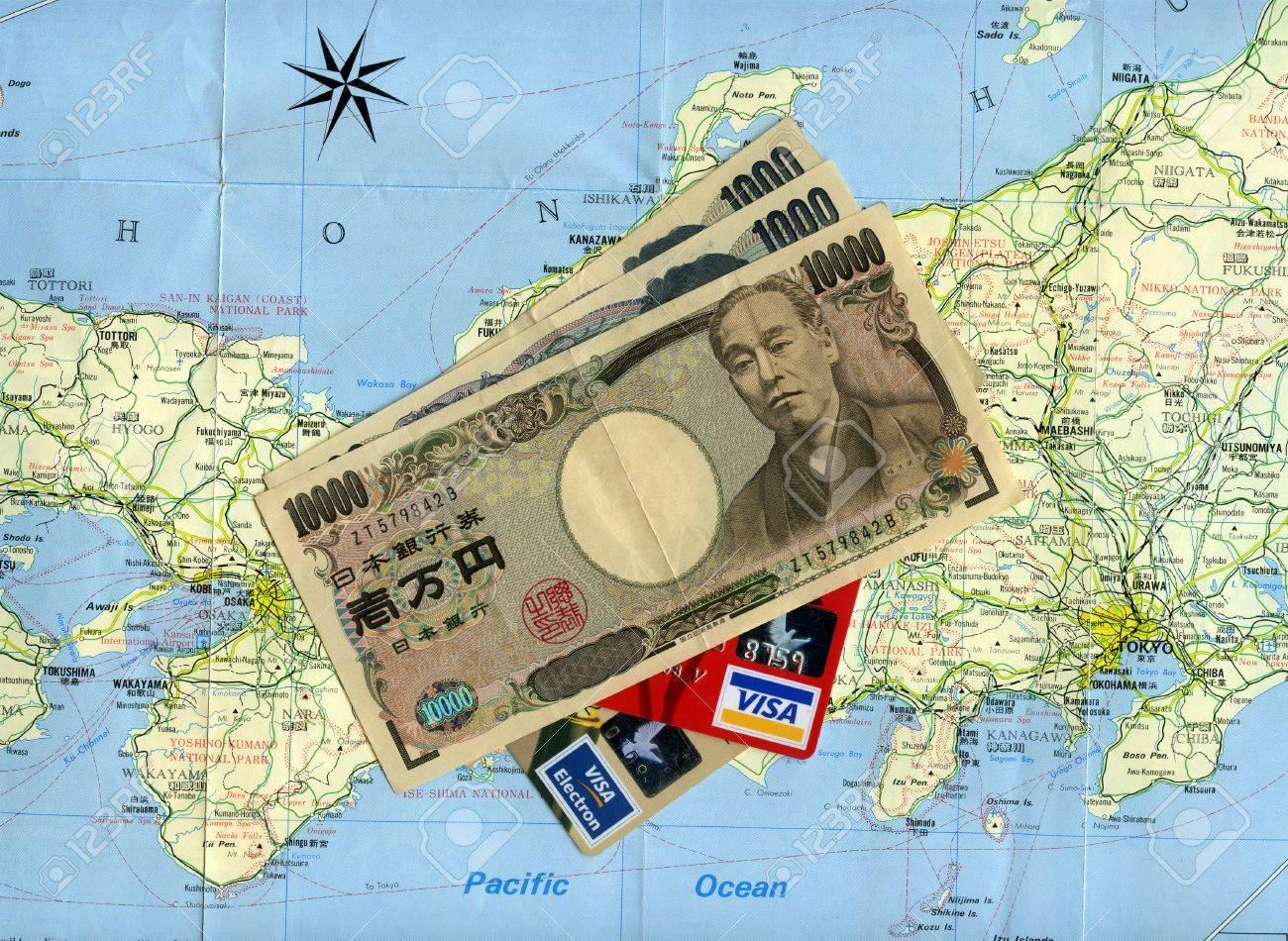 Concept Traveling To Japan Japanese Money Yens Visa Credit - Japan visa map