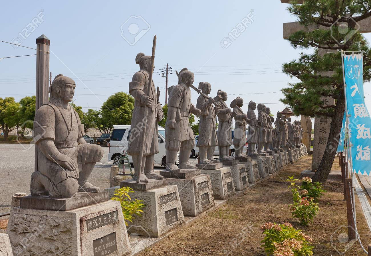 AKO, JAPAN - JULY 18, 2016: Statues of famous 47 ronin in the