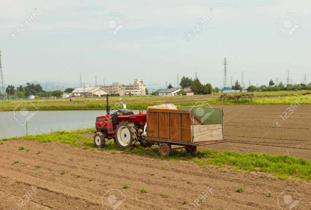MARIOKA, JAPAN - MAY 22, 2017: Small Red Japanese Tractor (Yanmar