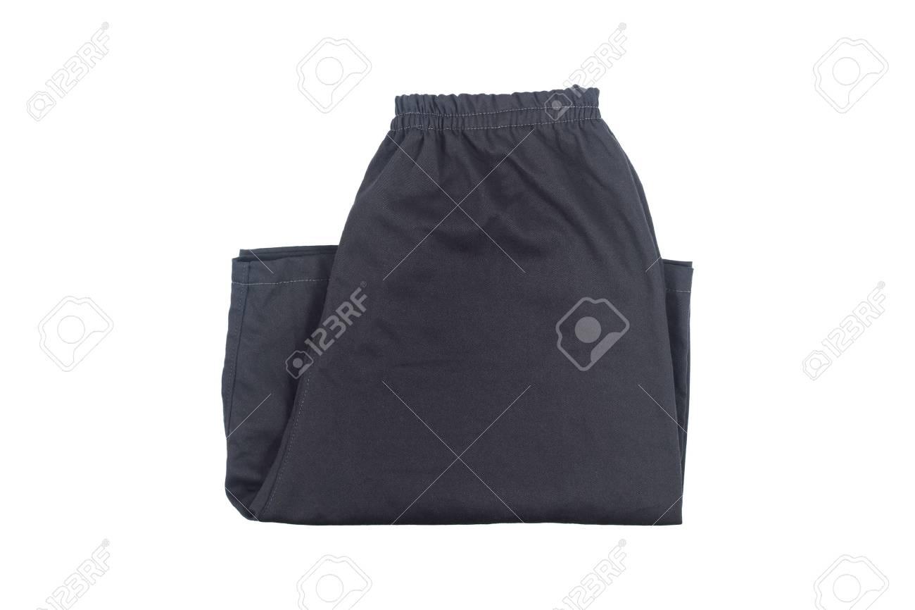 f46576635ffc1d Es faltet schwarze kurze Hosen isoliert auf weiß. Standard-Bild - 63768282