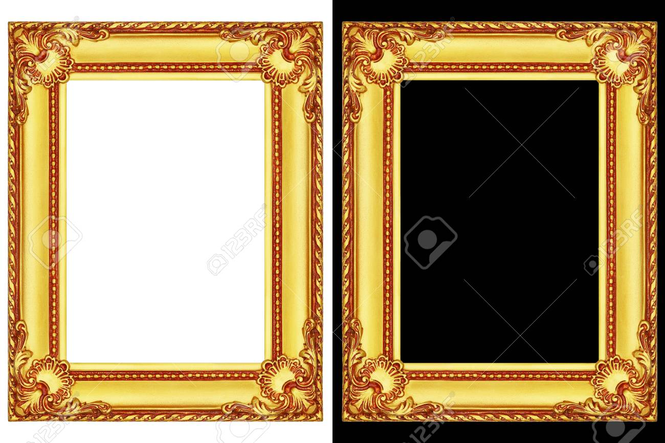 It Is Two Golden Frames Isolated On Black And White Stock Photo