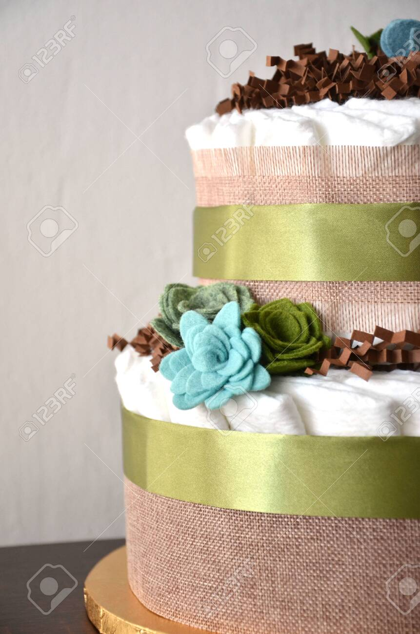Miraculous Nappy Cake Made From Nappies Ribbons And Flower Seemed Funny Birthday Cards Online Alyptdamsfinfo
