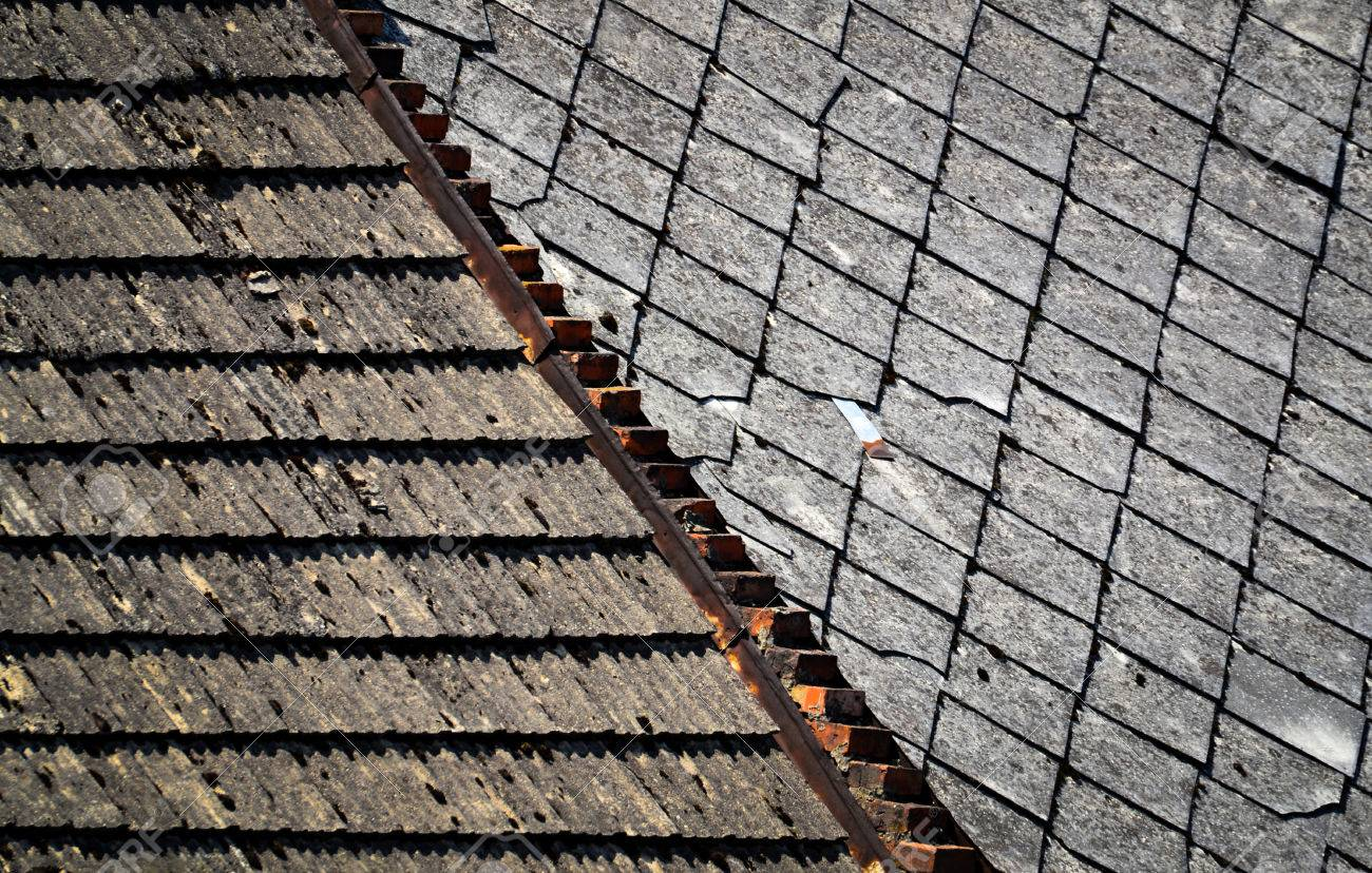background or texture Two types of old roofs Stock Photo - 30573365
