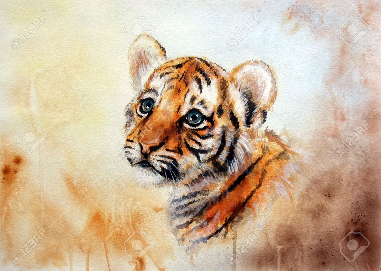 A Beautiful Airbrush Painting Of An Adorable Baby Tiger Head