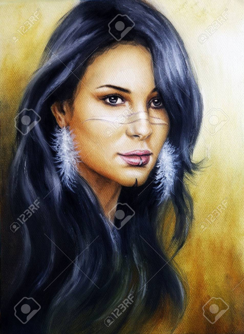 Beautiful illustration portrait of a young indian woman face with feather earrings and long dark