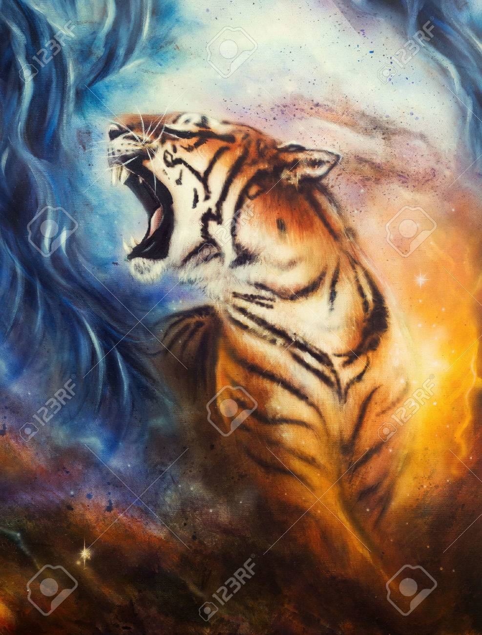 A Beautiful Airbrush Painting Of A Roaring Tiger On A Abstract