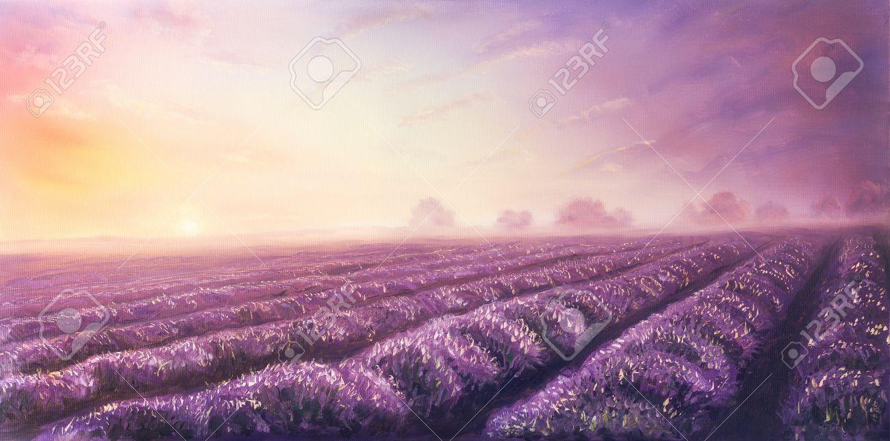 Couleur Lavande Peinture la peinture à l'huile originale de champs de lavande sur canvas