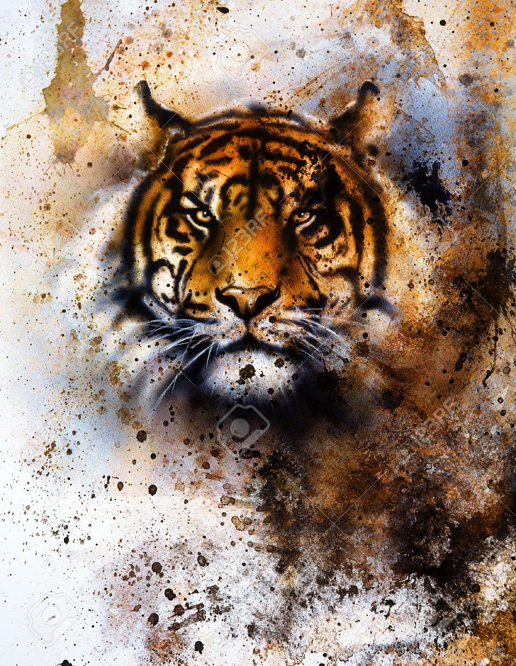 tiger collage on color abstract background rust structure stock