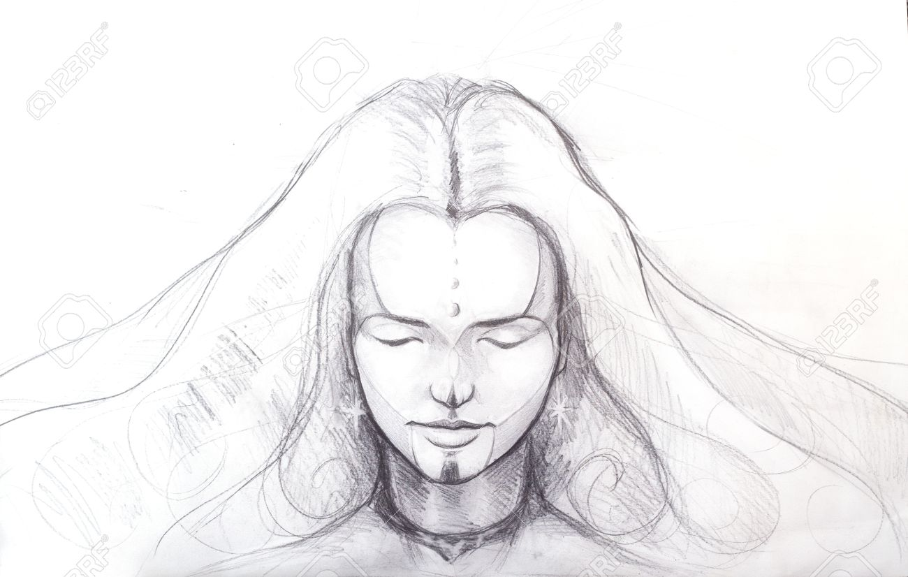 Line Drawing Face Tattoo : Pencil drawing of beautiful meditation girl and tattoo on face