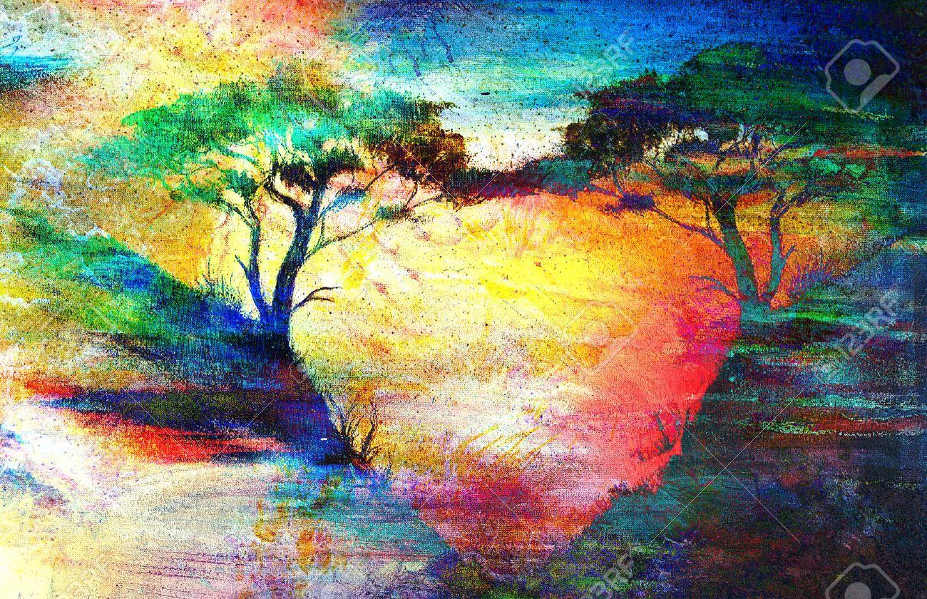 Préférence Peinture Coucher Du Soleil, La Mer Et L'arbre, Fond D'écran  OH34