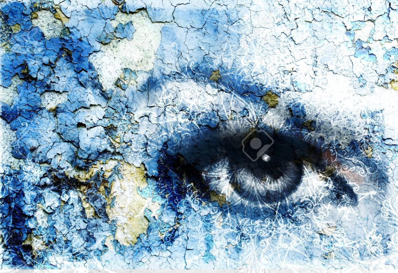 mujeres hermosas verde radiante ojo efecto de la roya del color collage pintura