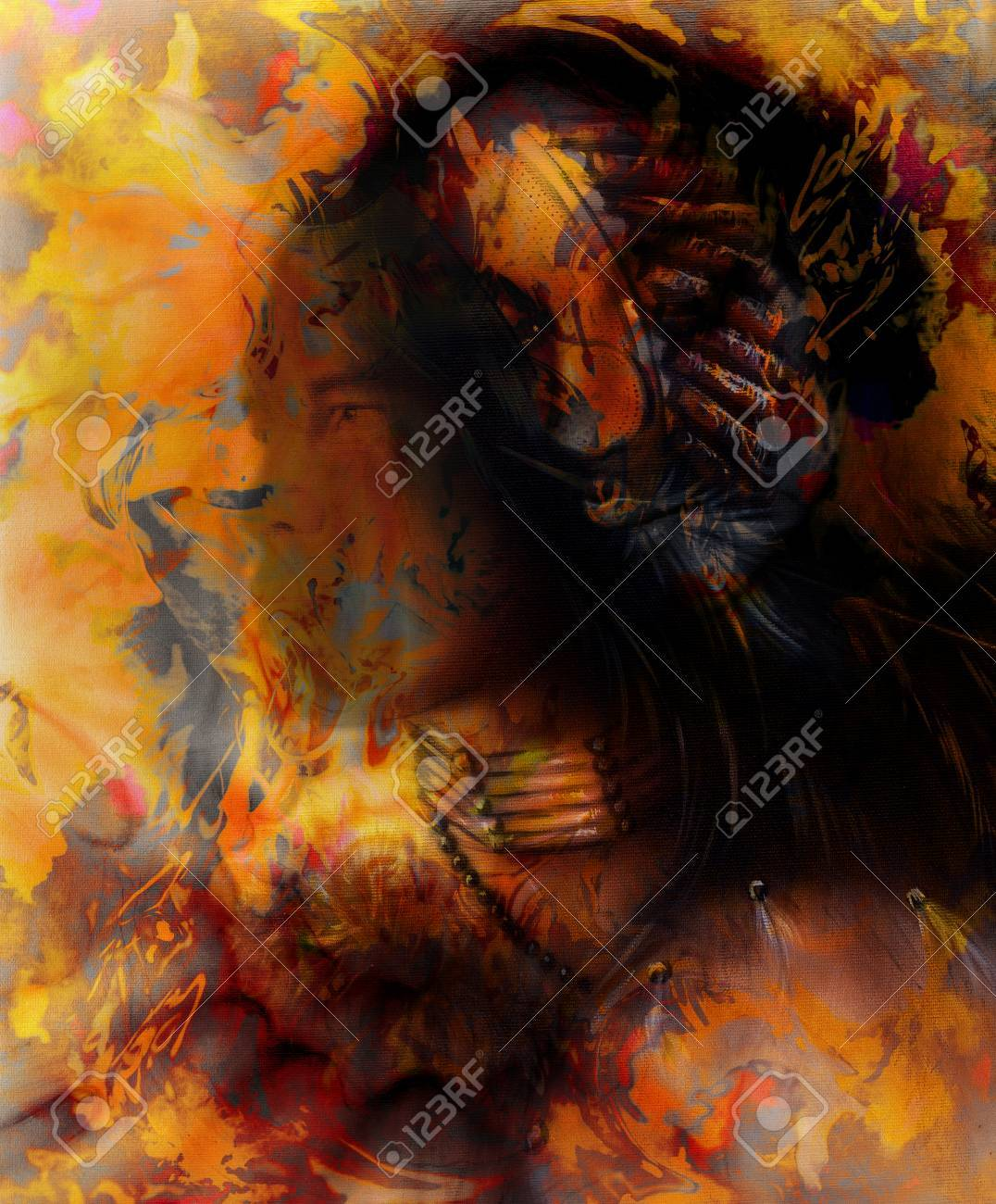 Young Indian Warrior And Woman Face Abstract Color Background