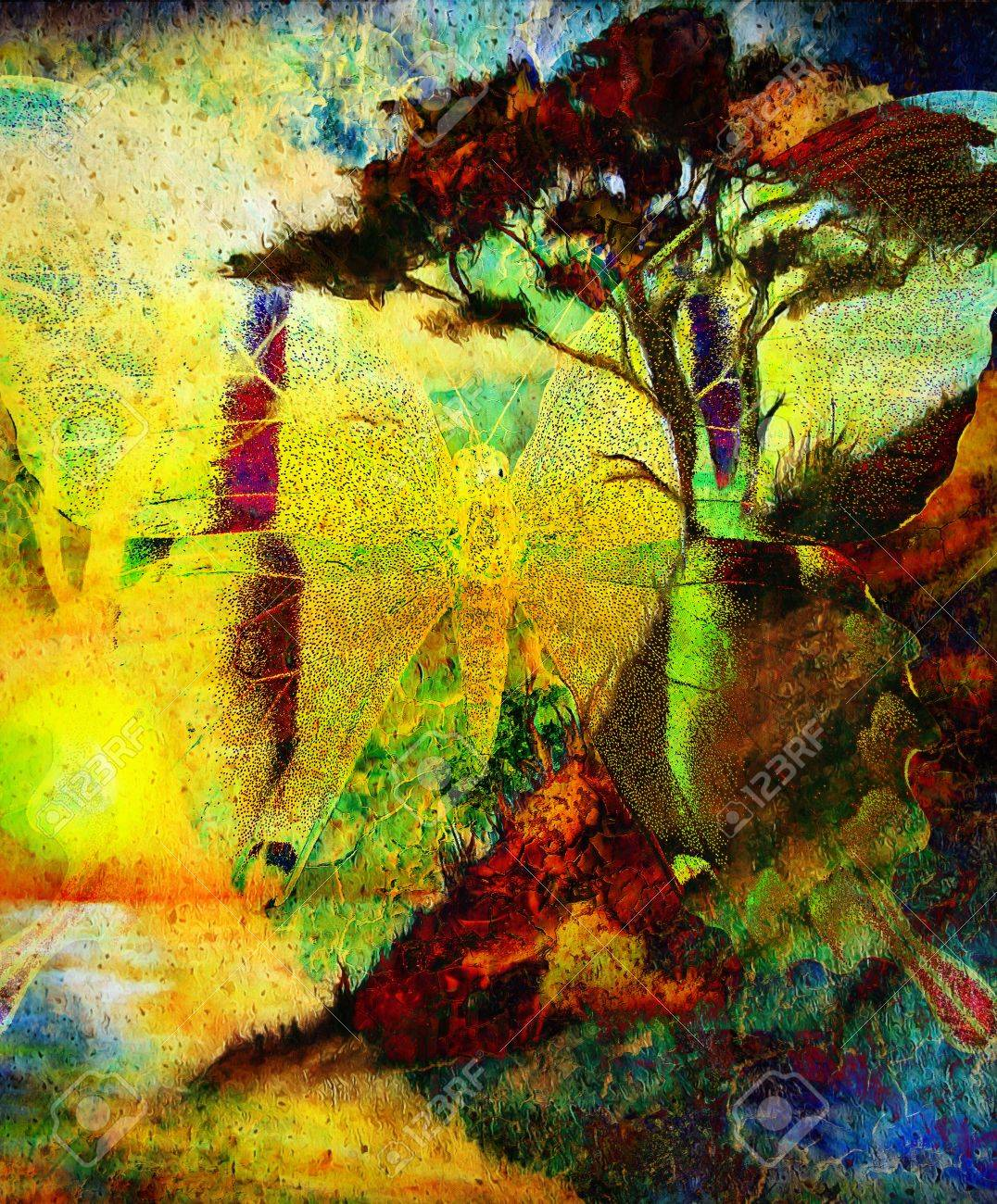 Painting Butterfly And Tree Wallpaper Landscape Color Collage Abstract Grunge Background With