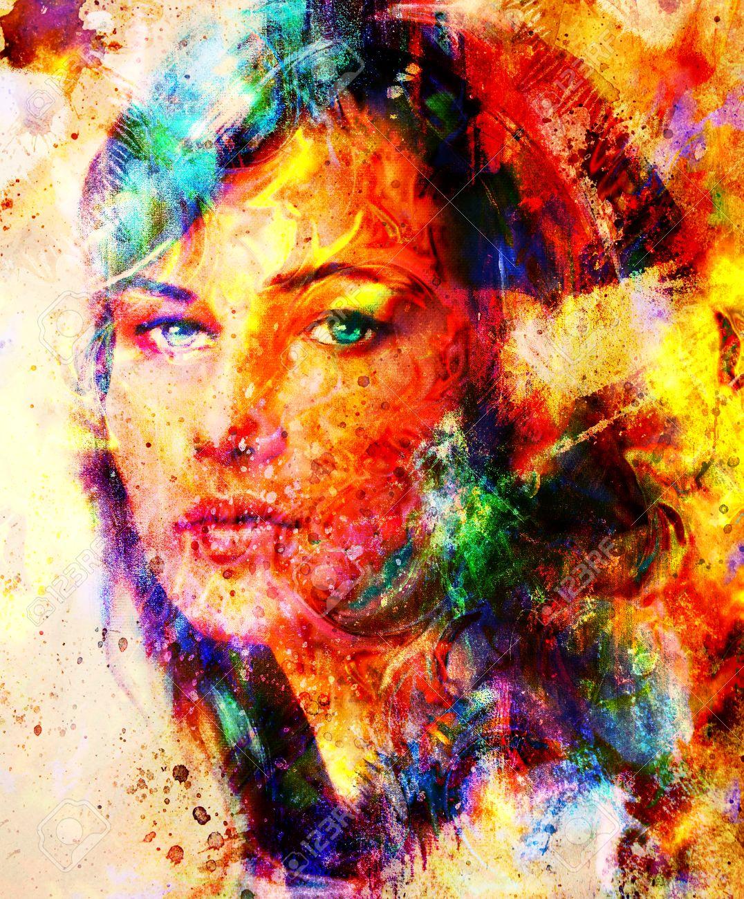 Berühmt Jeune Femme, Portrait, Peinture De Couleur Sur Fond Abstrait  OY47