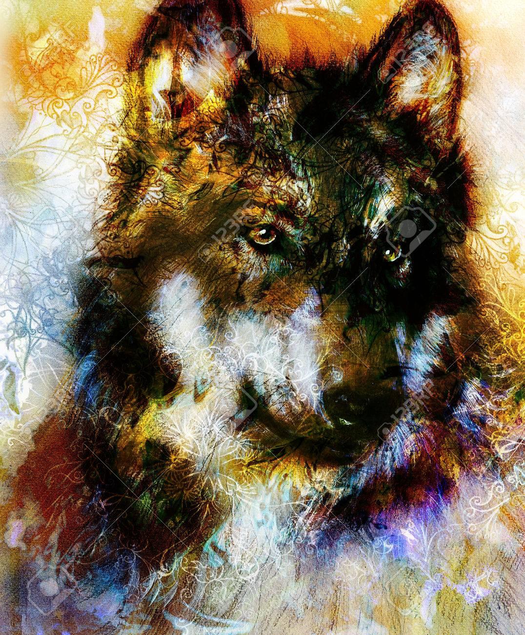 Pintura Del Lobo Fondo De Color Sobre Papel Multicolor Ilustración