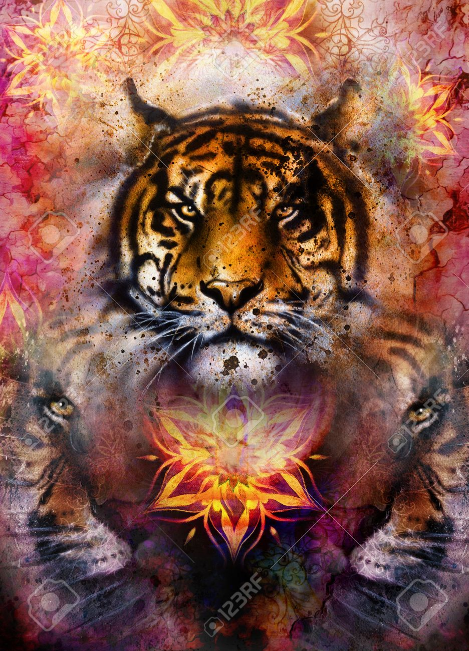 gentle portrait tiger on ornamental background computer collage