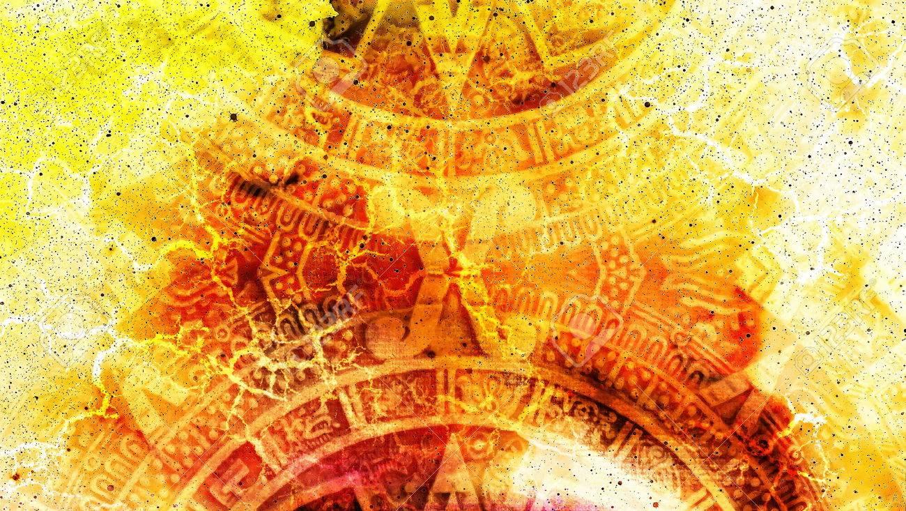 Alte Maya-Kalender, abstrakte Farbe Hintergrund, Computer-collage ...