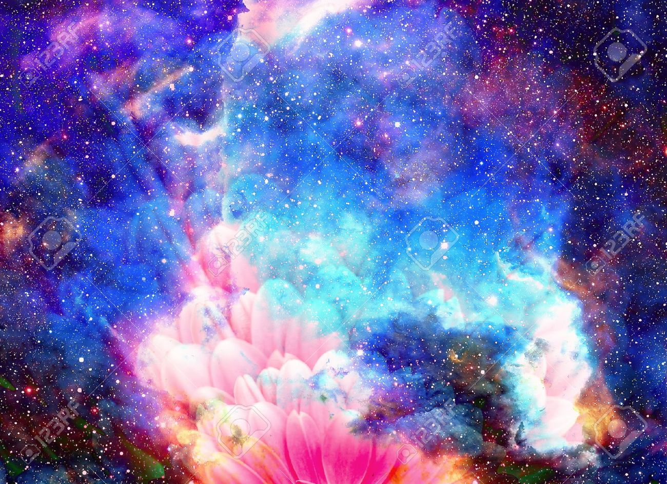 Space And Stars With Flower Color Galaxi Background Computer