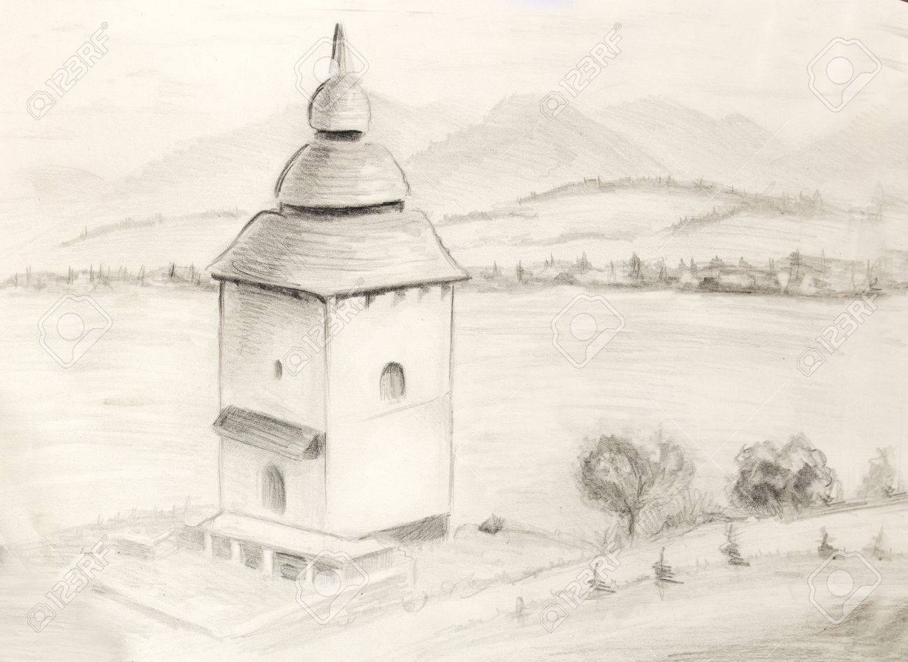 Sketch kaplnka in nature architectural pencil sketch stock photo 52511338
