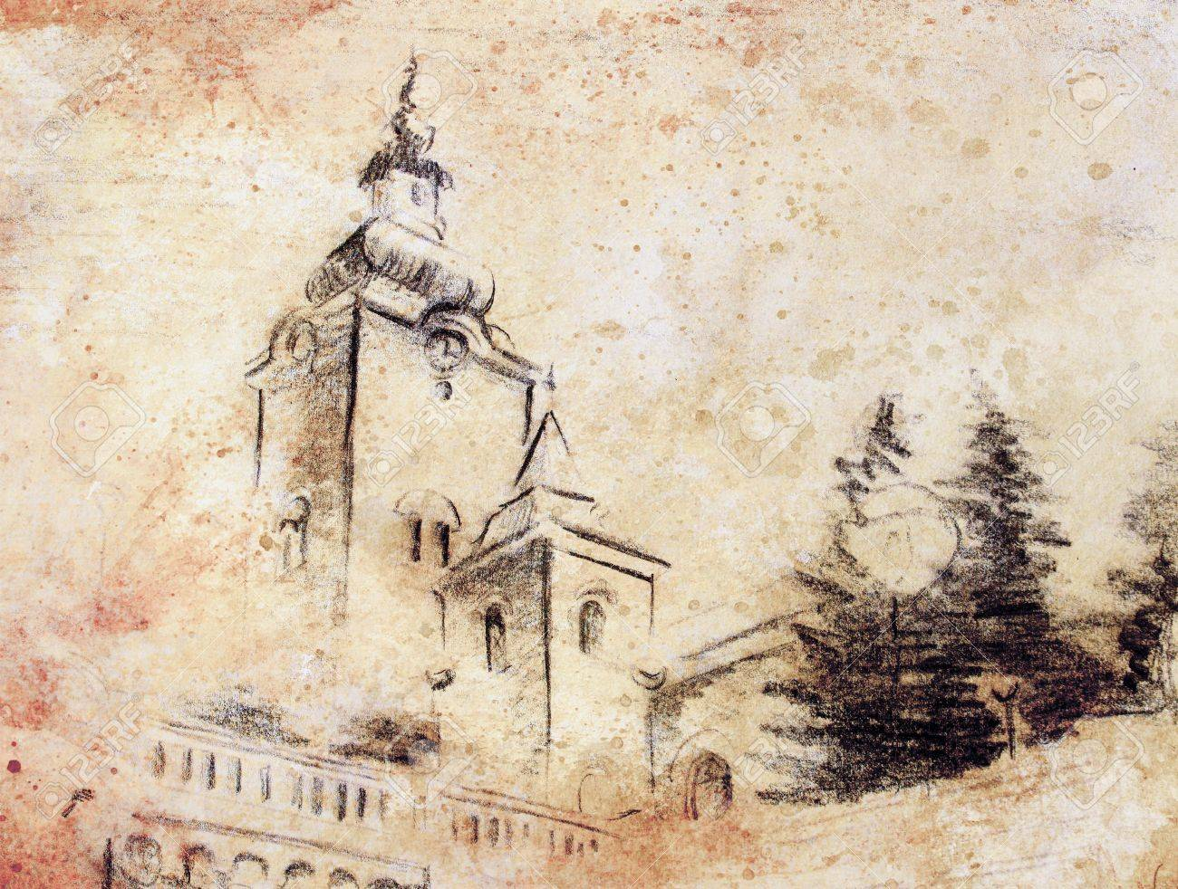 Pencil sketch church drawing on vintage paper