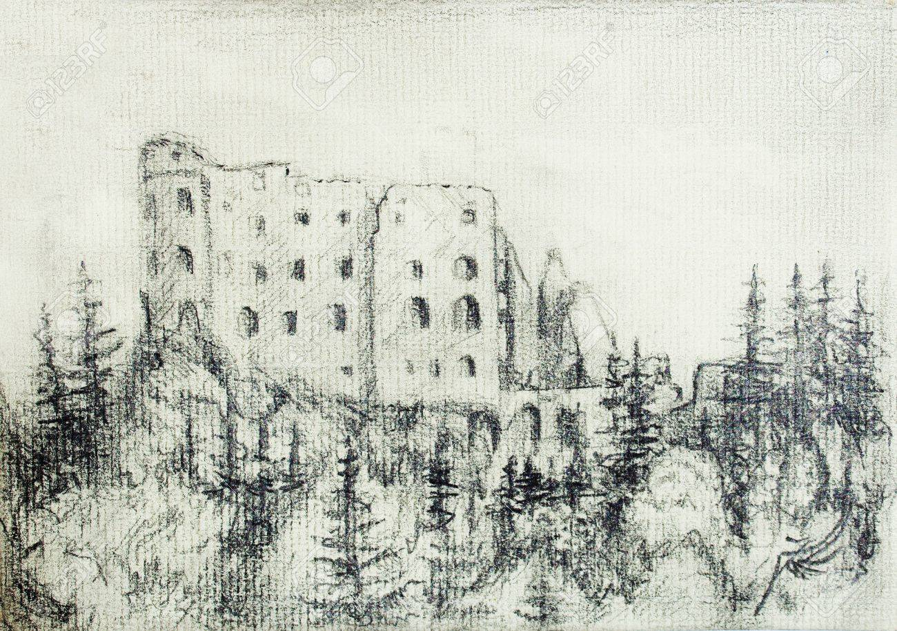 Middle castle pencil drawing in forest on old paper stock photo 52518689