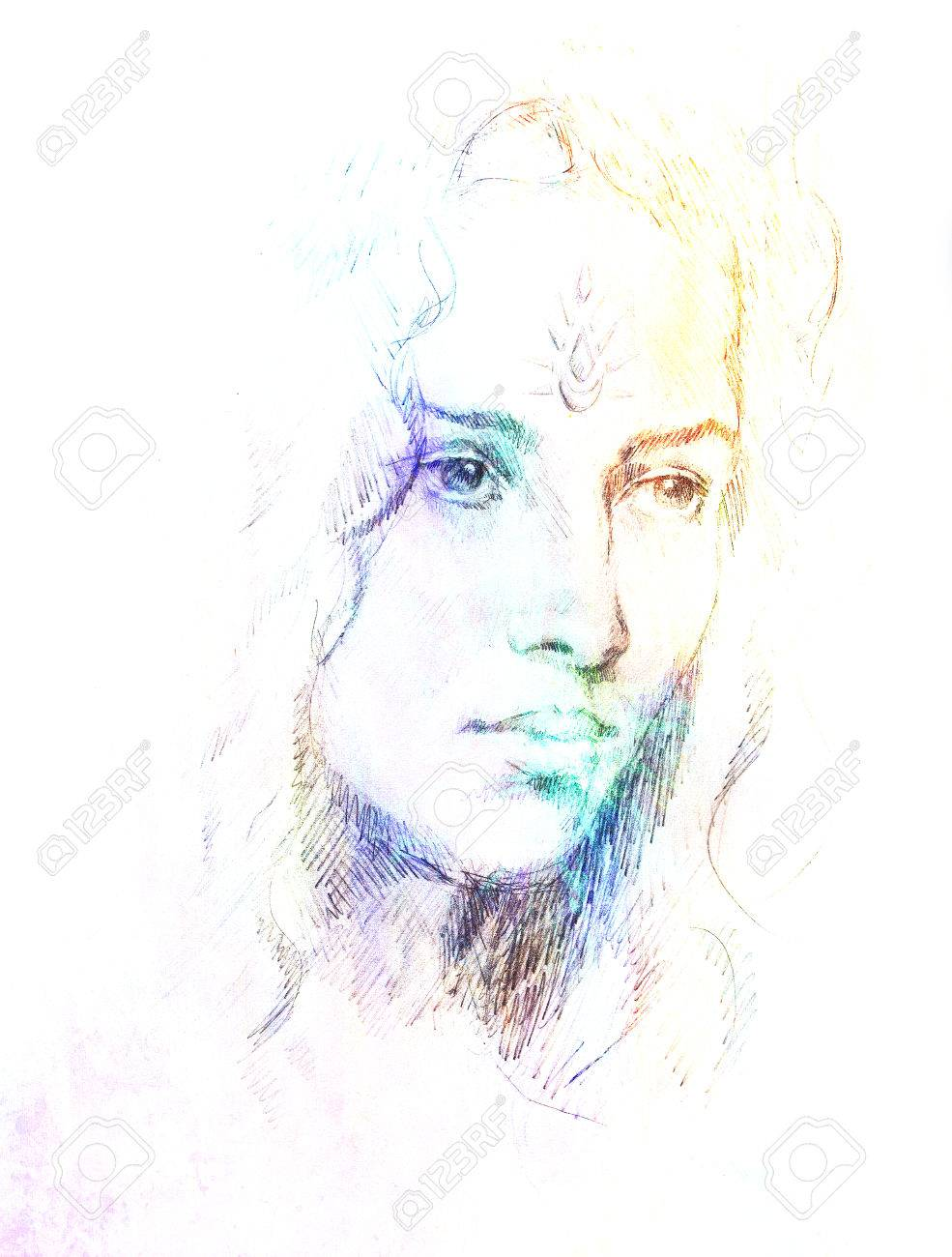 Drawing Portrait Young Woman With Ornament On Face Color Painting