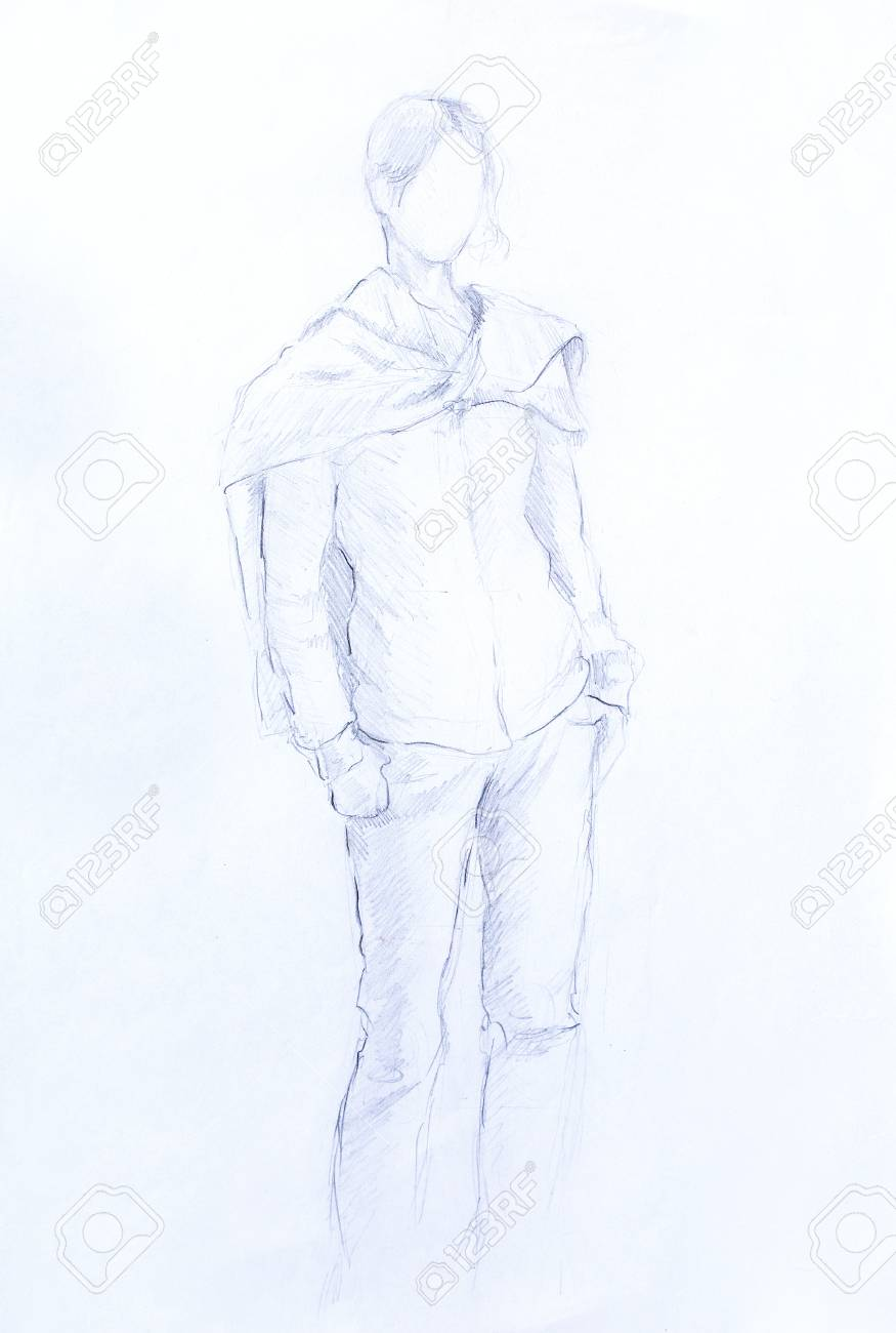 Standing figure woman pencil sketch on paper stock photo 52519891
