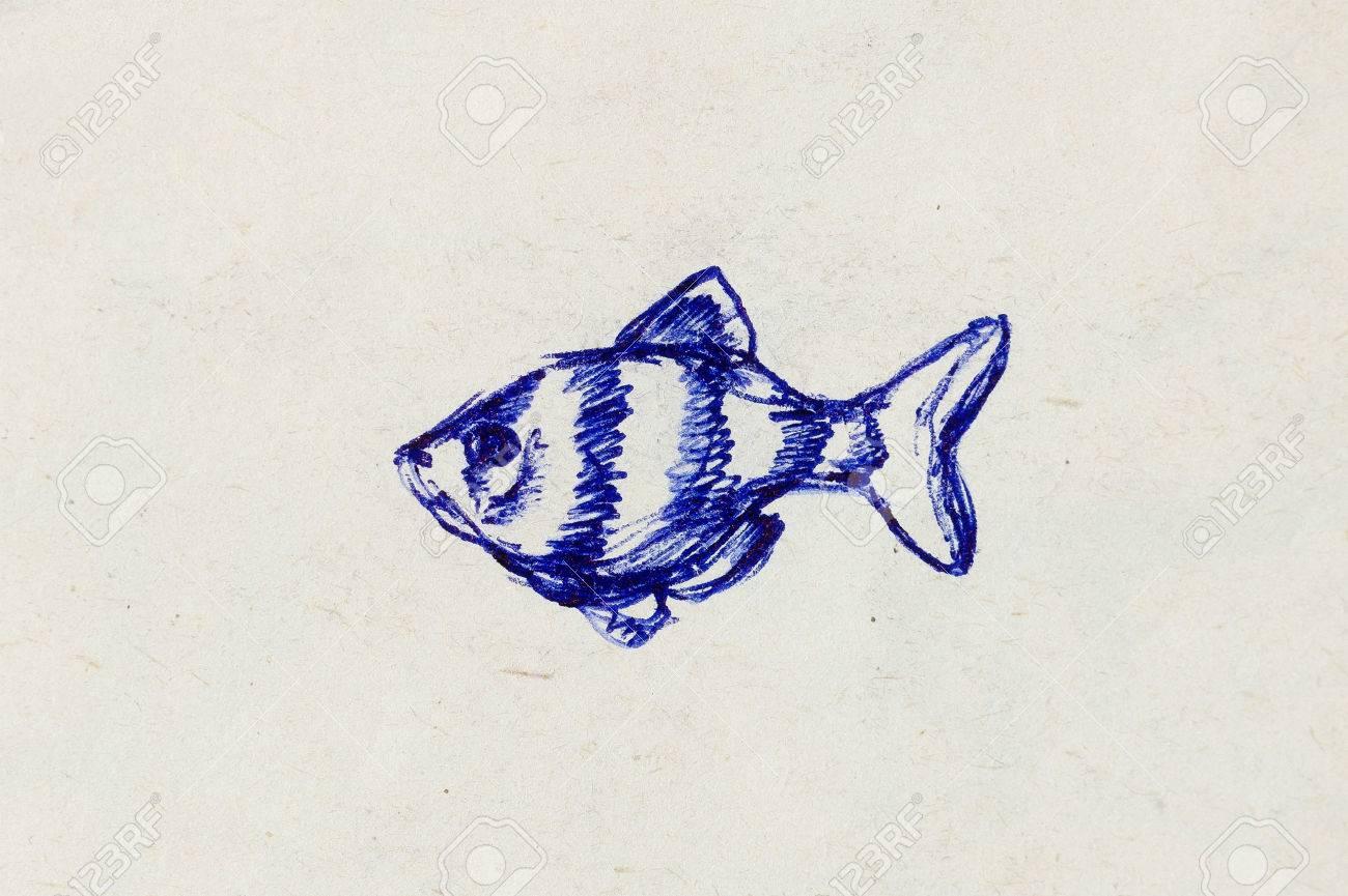 The pencil drawing aquarium fish on old paper