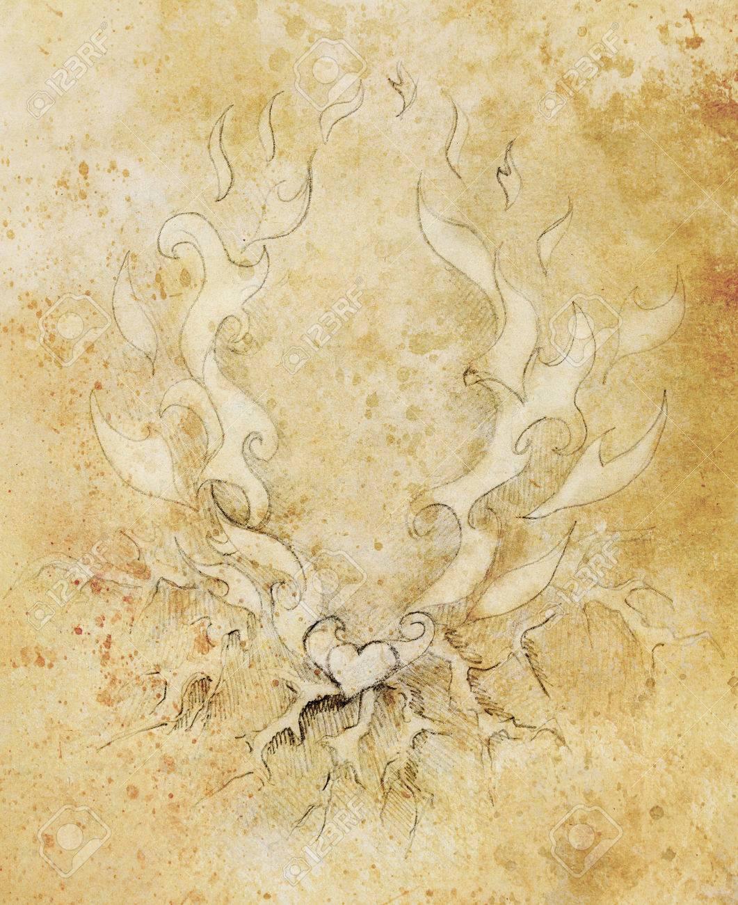 Hermoso Dibujo De Lápiz Ornamental En El Papel Viejo Corazón Y Fuego Con Flash Color De La Sepia