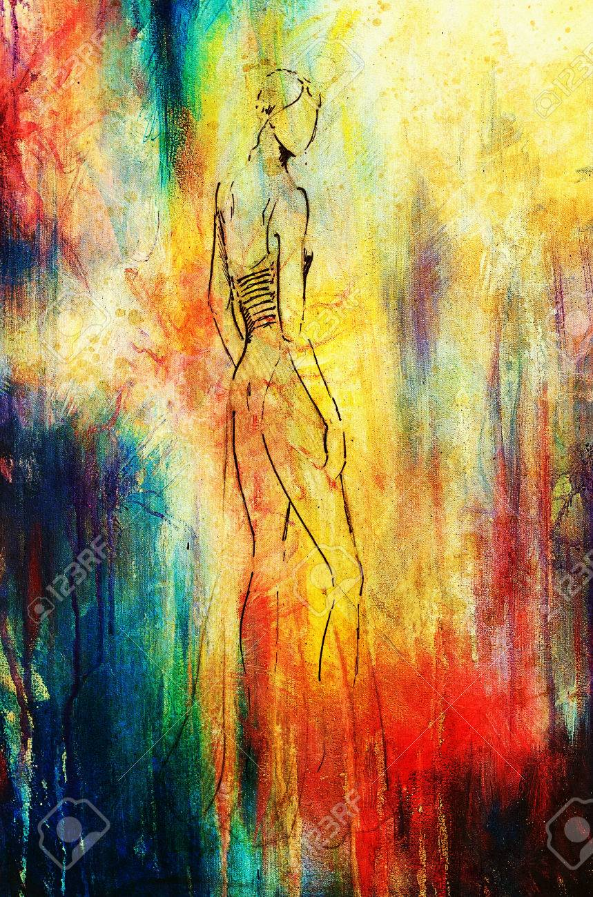 Standing figure woman pencil sketch on paper watercolor background stock photo 53043296