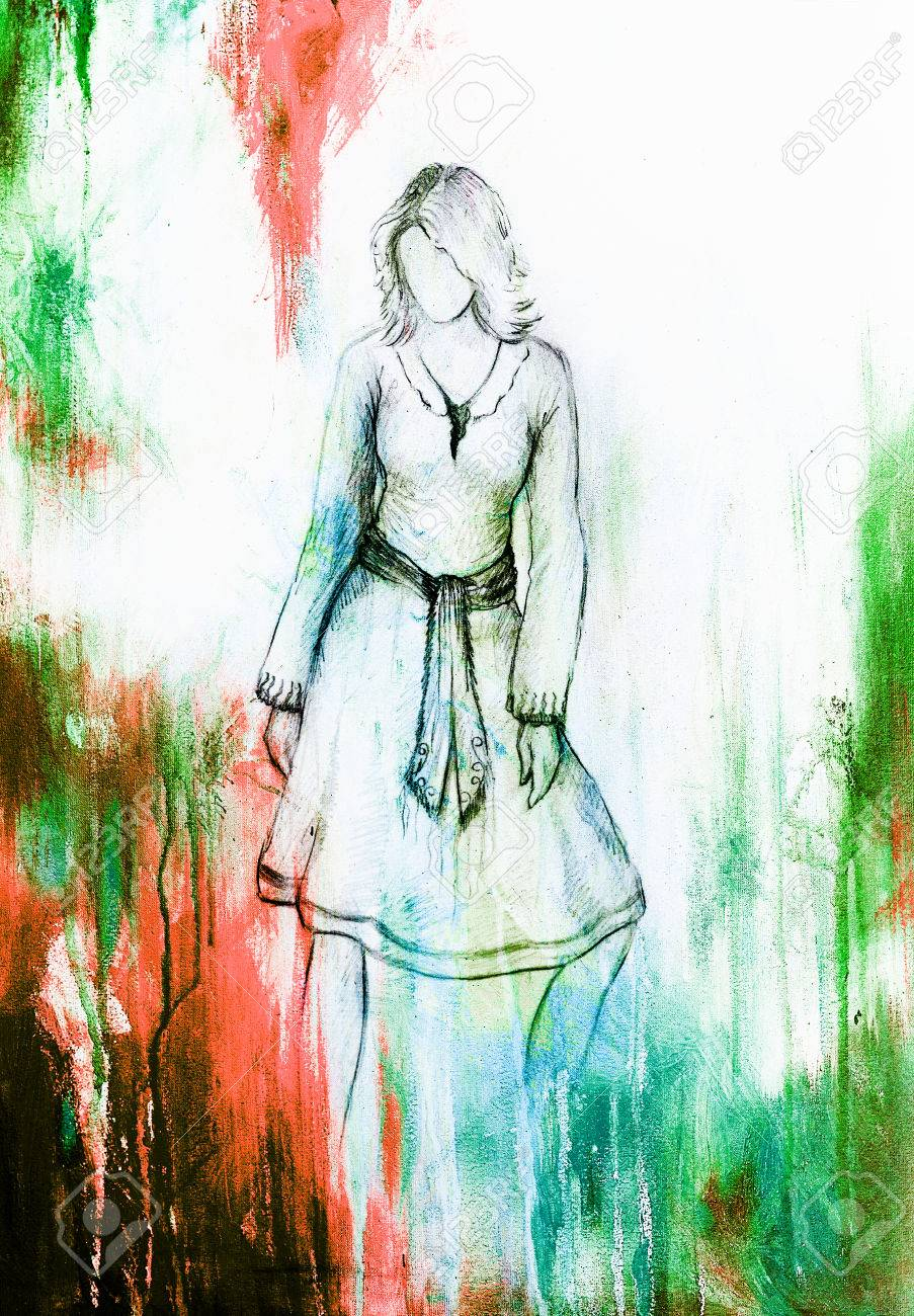 Standing figure woman pencil sketch on paper watercolor background stock photo 53043318