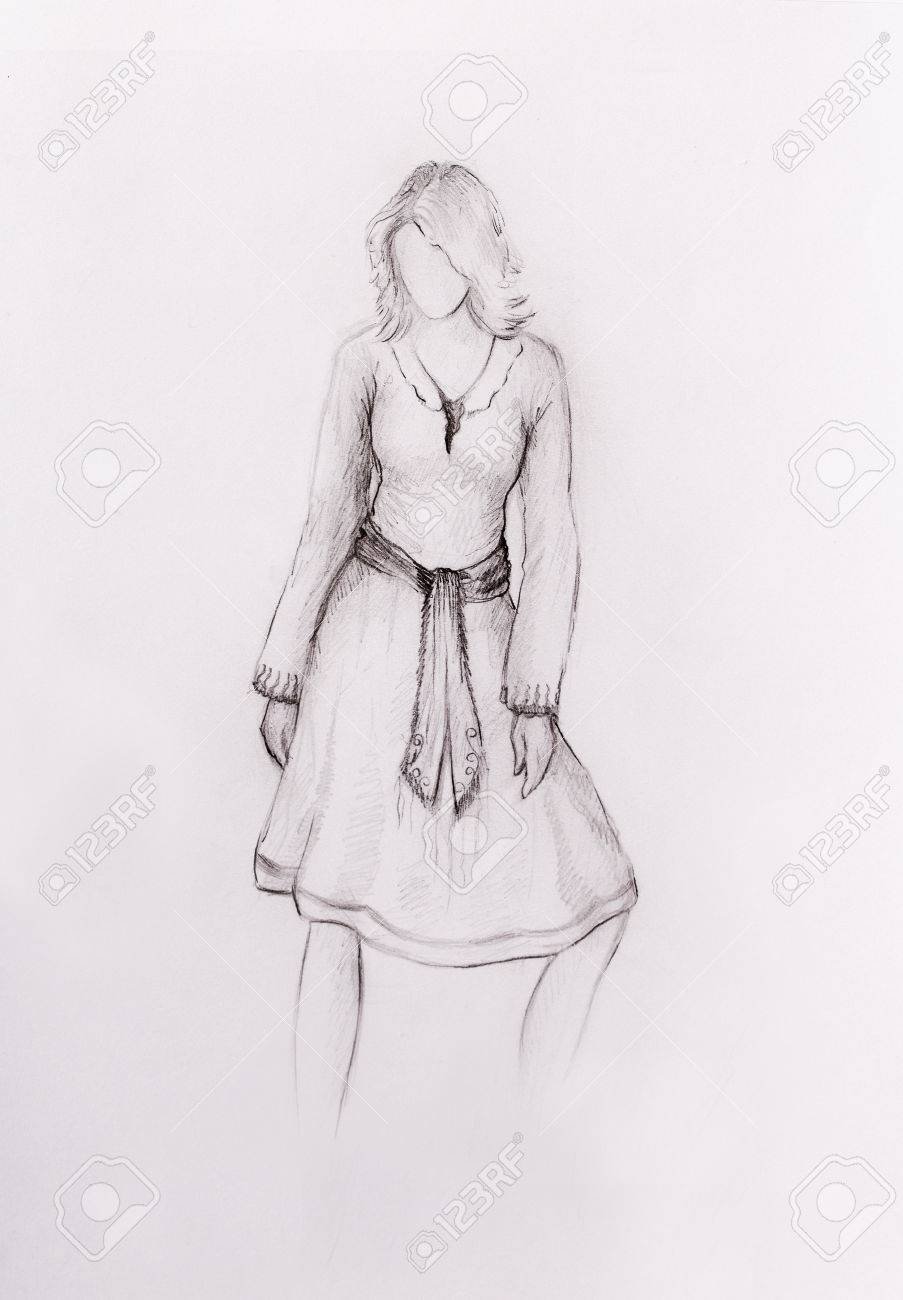 Standing figure woman pencil sketch on paper stock photo 53043327