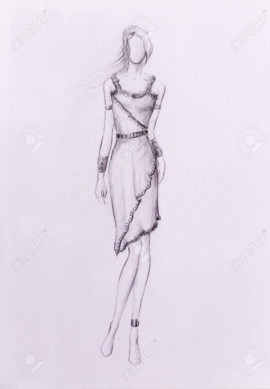 Standing figure woman pencil sketch on paper stock photo 53043328