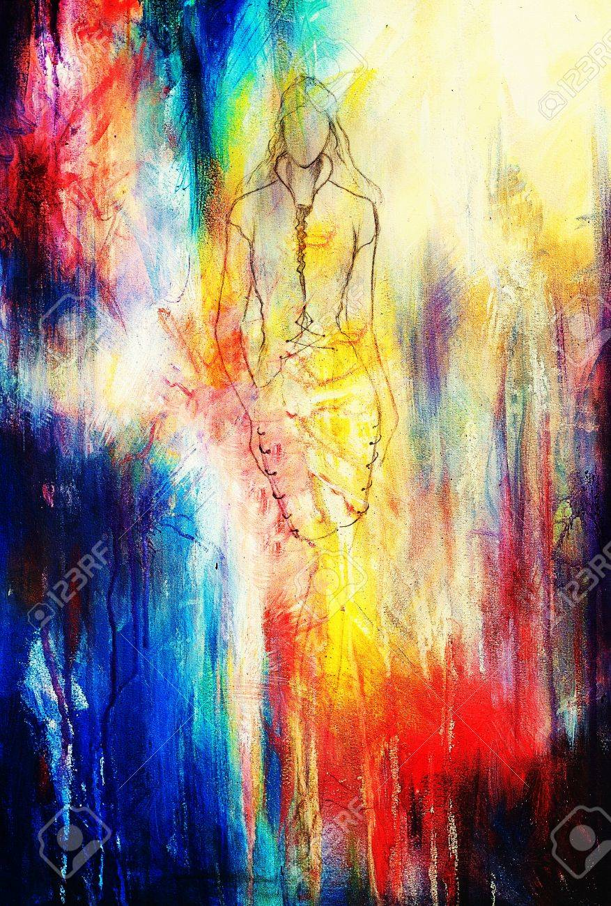 Standing figure woman pencil sketch on paper watercolor background stock photo 53043378