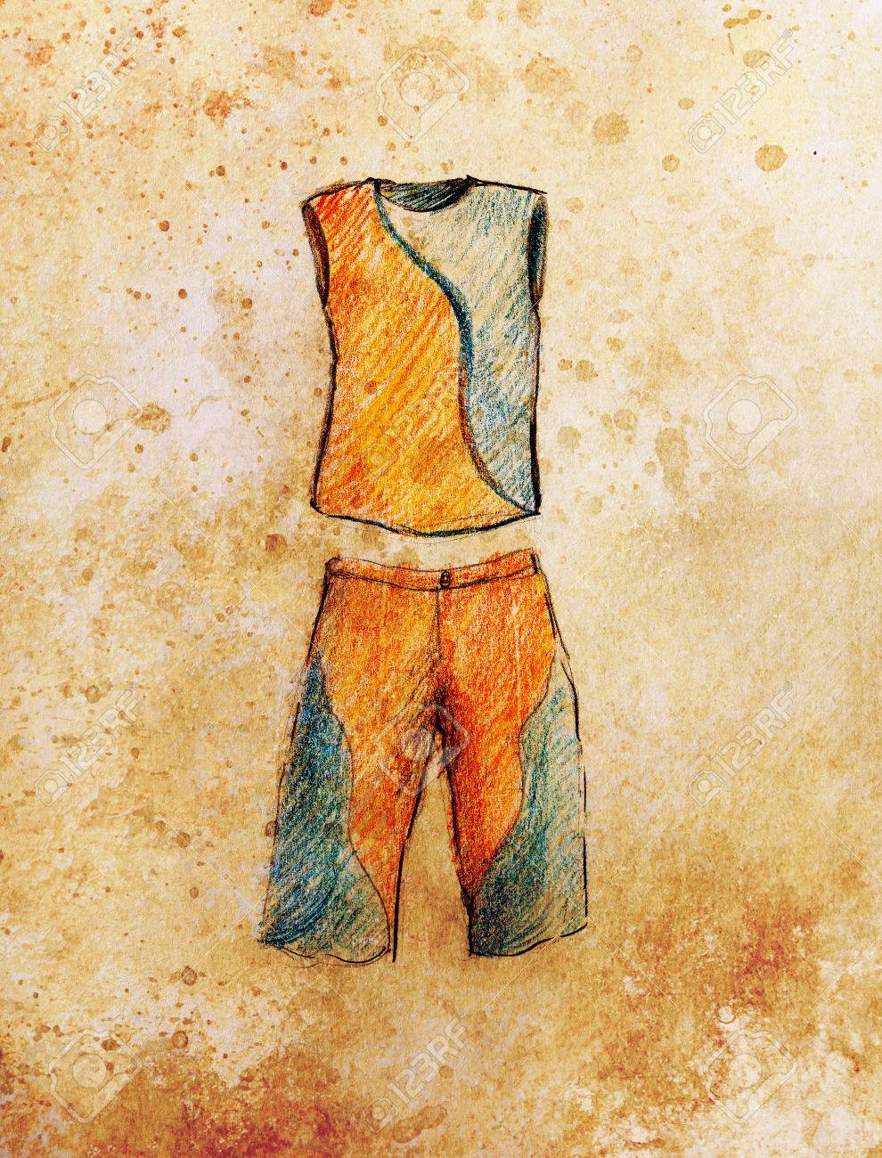 Drawing male clothes color pencil sketch on paper stock photo 53043500