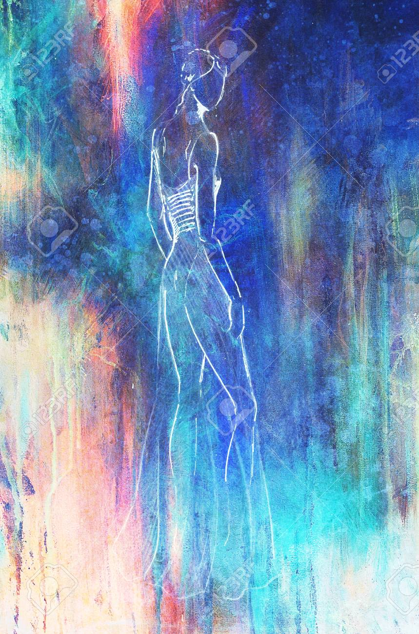 Standing figure woman pencil sketch on paper watercolor background stock photo 54741769