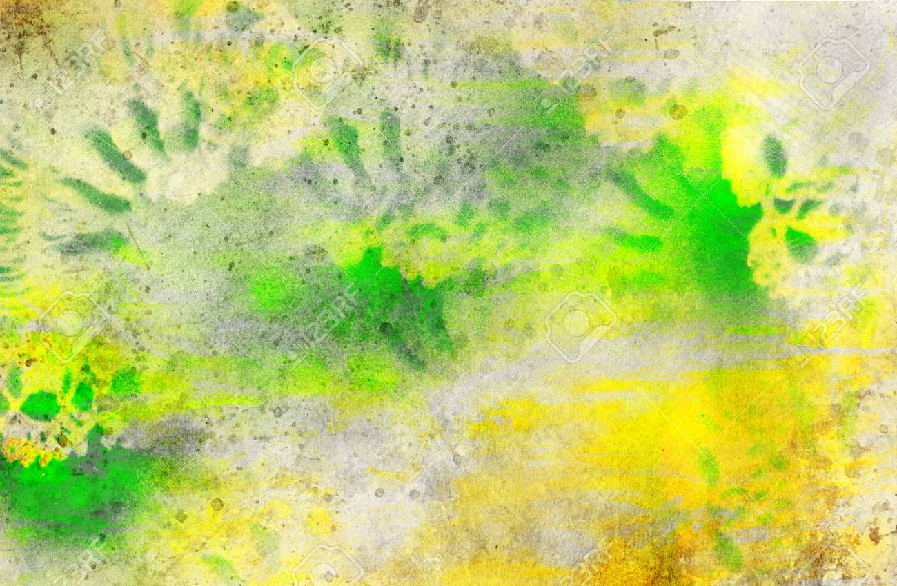 Yellow And Green Watercolor With Textures Added And Ornament