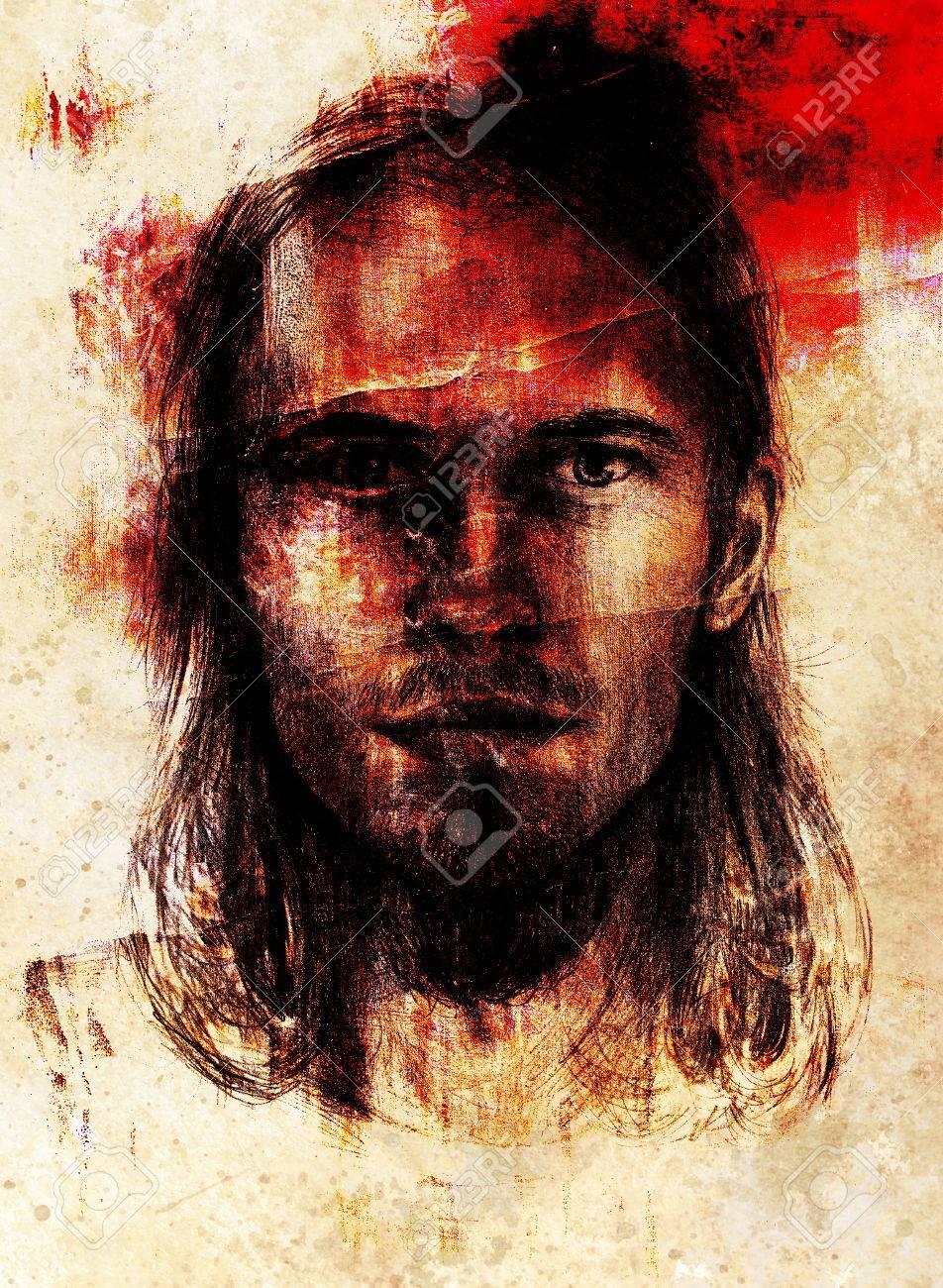 interpretation of jesus christ portrait as young man stock photo