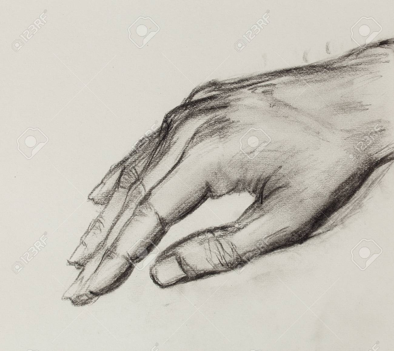 Drawing hand pencil sketch on old paper stock photo 54742140