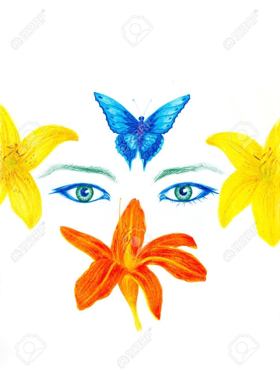 Ojos De Mujer Con Flores Y Mariposas Dibujo A Lápiz De Color El