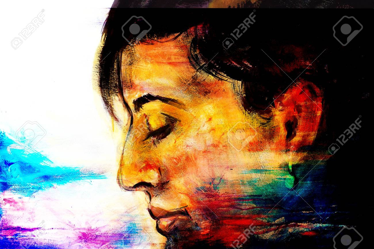 Art Colorful Painting Beautiful Girl Face And Abstract Color