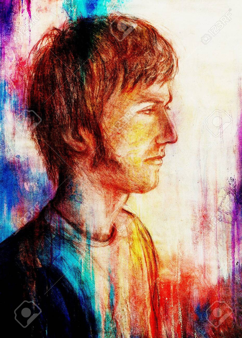 Art Drawing Man Face And Abstract Color Background